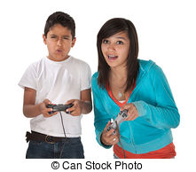 video-game-players-latino-siblings-battle-in-video-games-on-white-background-pictures_csp5008828