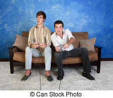 video-game-players-two-caucasian-friends-with-controller-play-video-game-stock-images_csp8412695